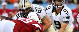 Saints and Cardinals in the Hall of Fame game - (Tim Fuller/US PRESSWIRE)