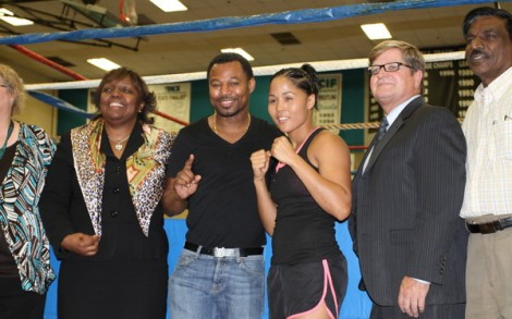 """Sugar"" Shane Mosley and Kaliesha ""Wild Wild"" West were at Canyon Spring's High School to promote the first boxing event hosted by Shane Mosley Promotions. (Photo by Guy McCarthy)"