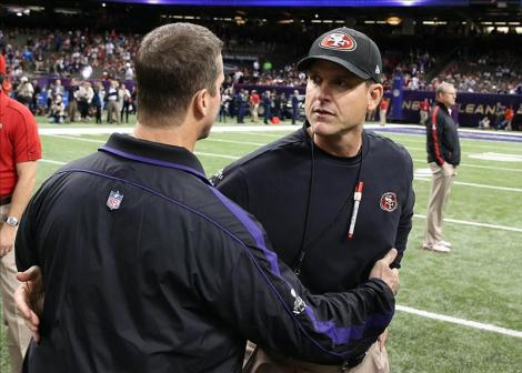 The Harbaugh brothers chatting before Super Bowl XLVII. (CBS Photo)