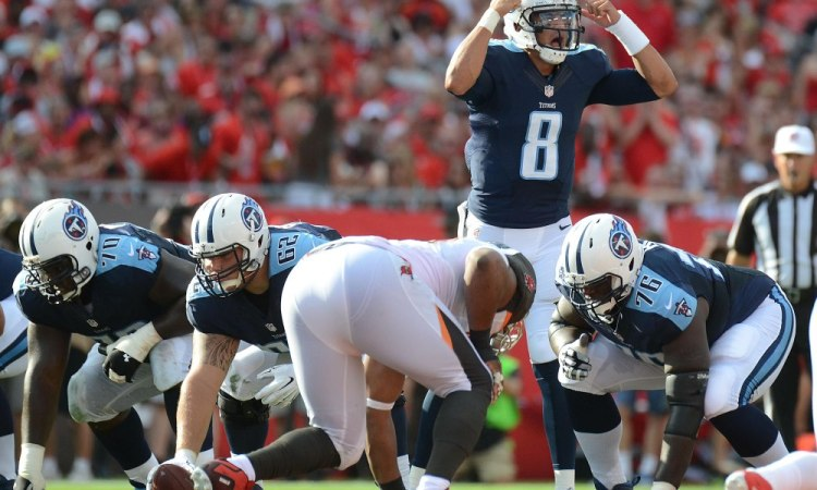 Sep 13, 2015; Tampa, FL, USA; Tennessee Titans quarterback Marcus Mariota (8) calls out a play  in the first half against the Tampa Bay Buccaneers at Raymond James Stadium. The Titans defeated the Buccaneers 42-14. Mandatory Credit: Jonathan Dyer-USA TODAY Sports