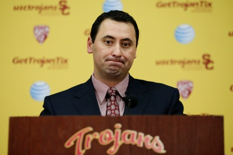 New Southern California football head coach Steve Sarkisian pauses for a moment during a news conference on Tuesday, Dec. 3, 2013, in Los Angeles. USC hired Sarkisian away from Washington on Monday, bringing back the former Trojans offensive coordinator to his native Los Angeles area and the storied program where he thrived as Pete Carroll's assistant. (AP Photo/Jae C. Hong)